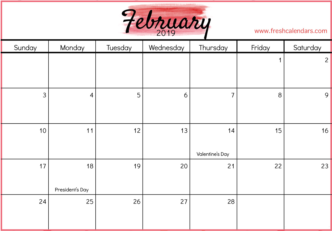 Monthly Calendar February 2019 With Holidays