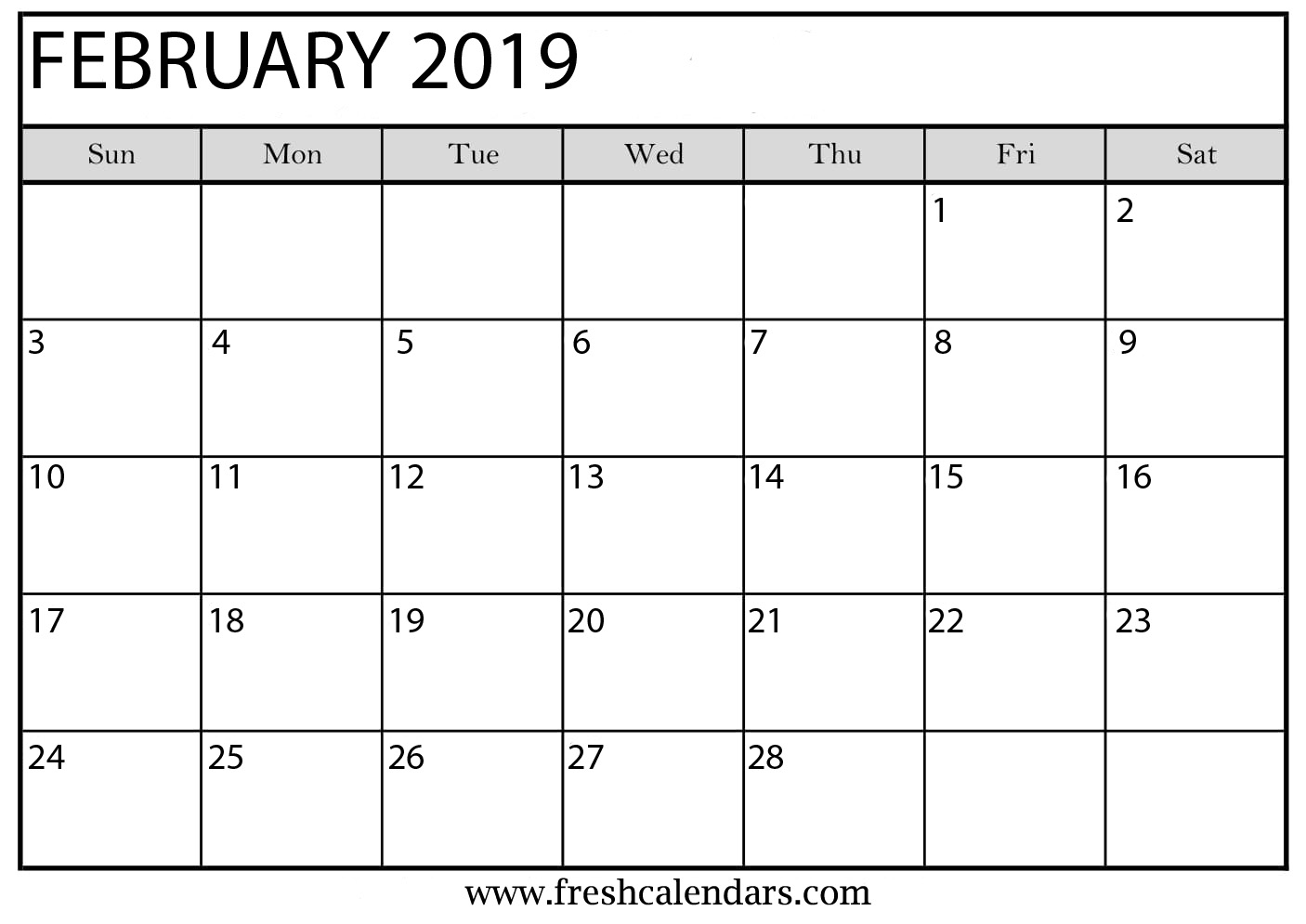 Monthly Calendar February 2019