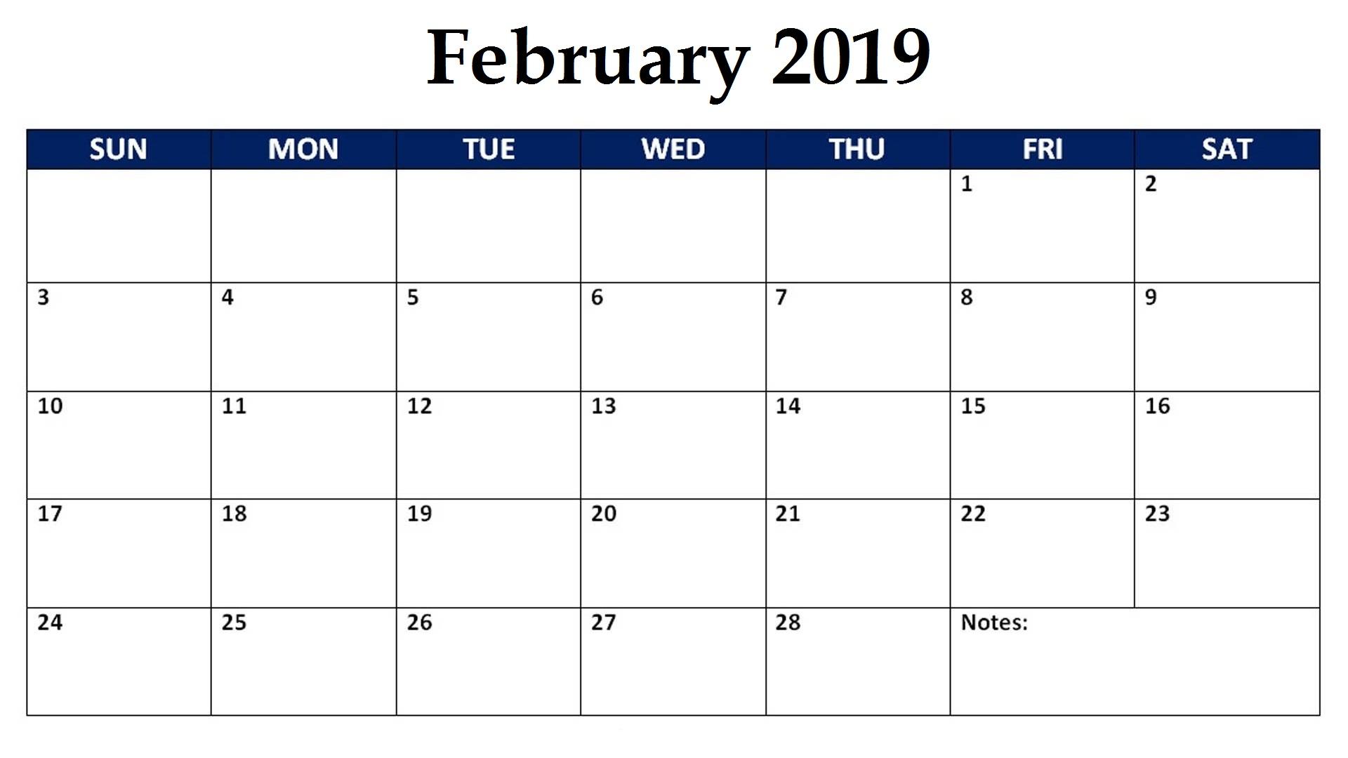 Monthly Calendar Template February 2019