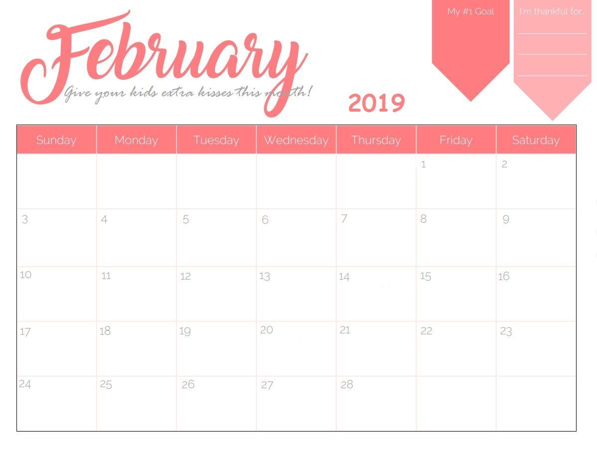 Monthly Desk Calendar February 2019