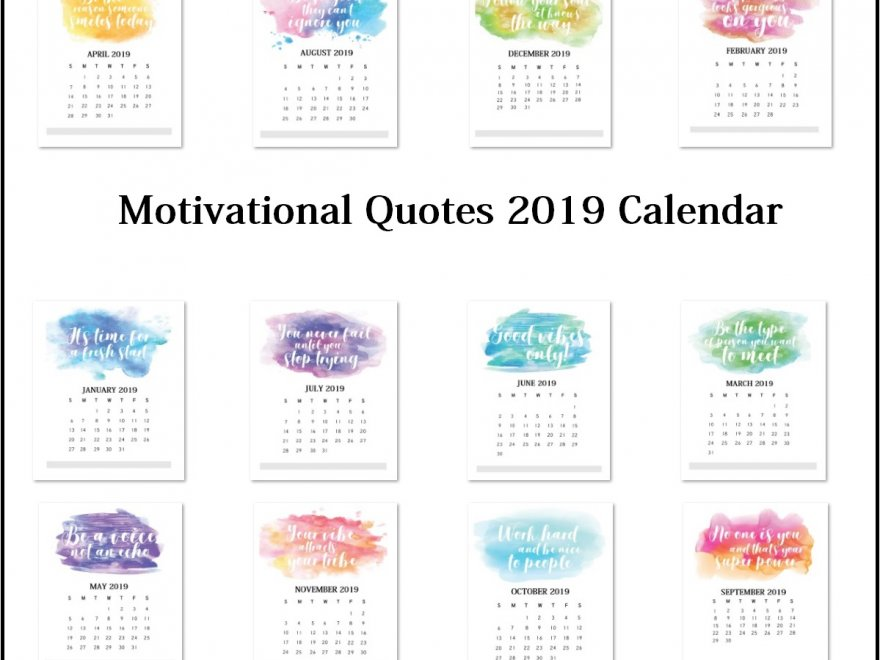 Motivational Quotes 2019 Calendar