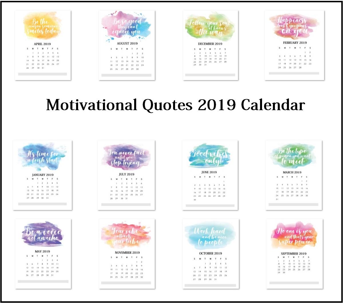 Motivational Quotes 2019 Calendar