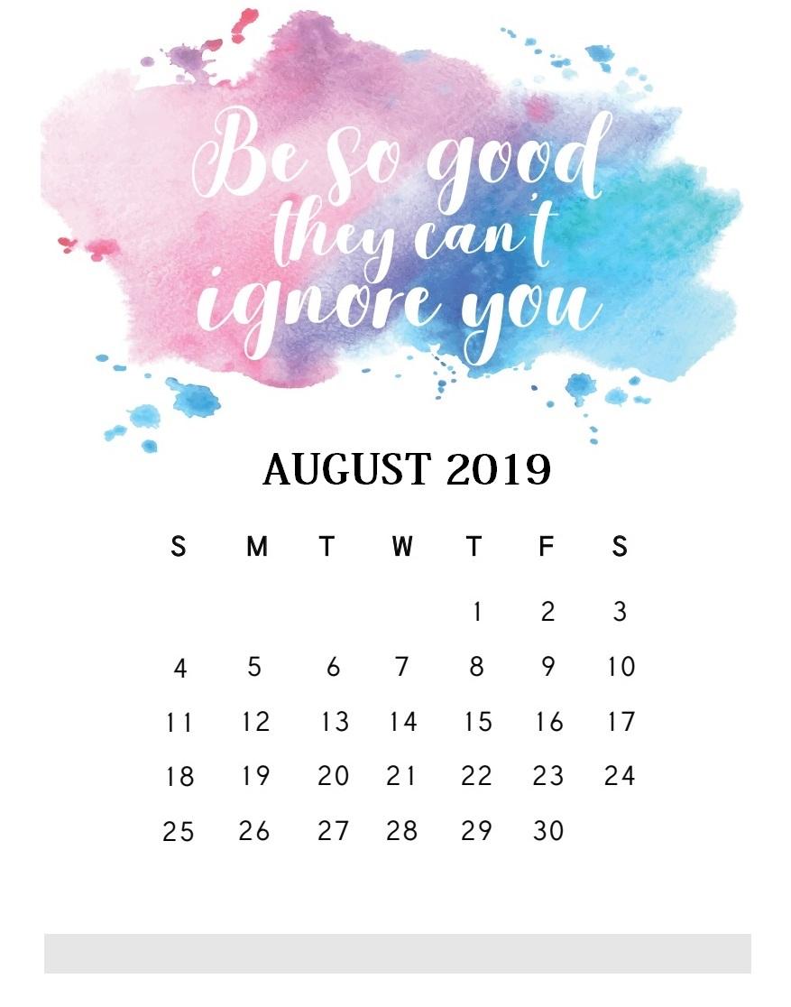 Motivational Quotes August 2019 Calendar