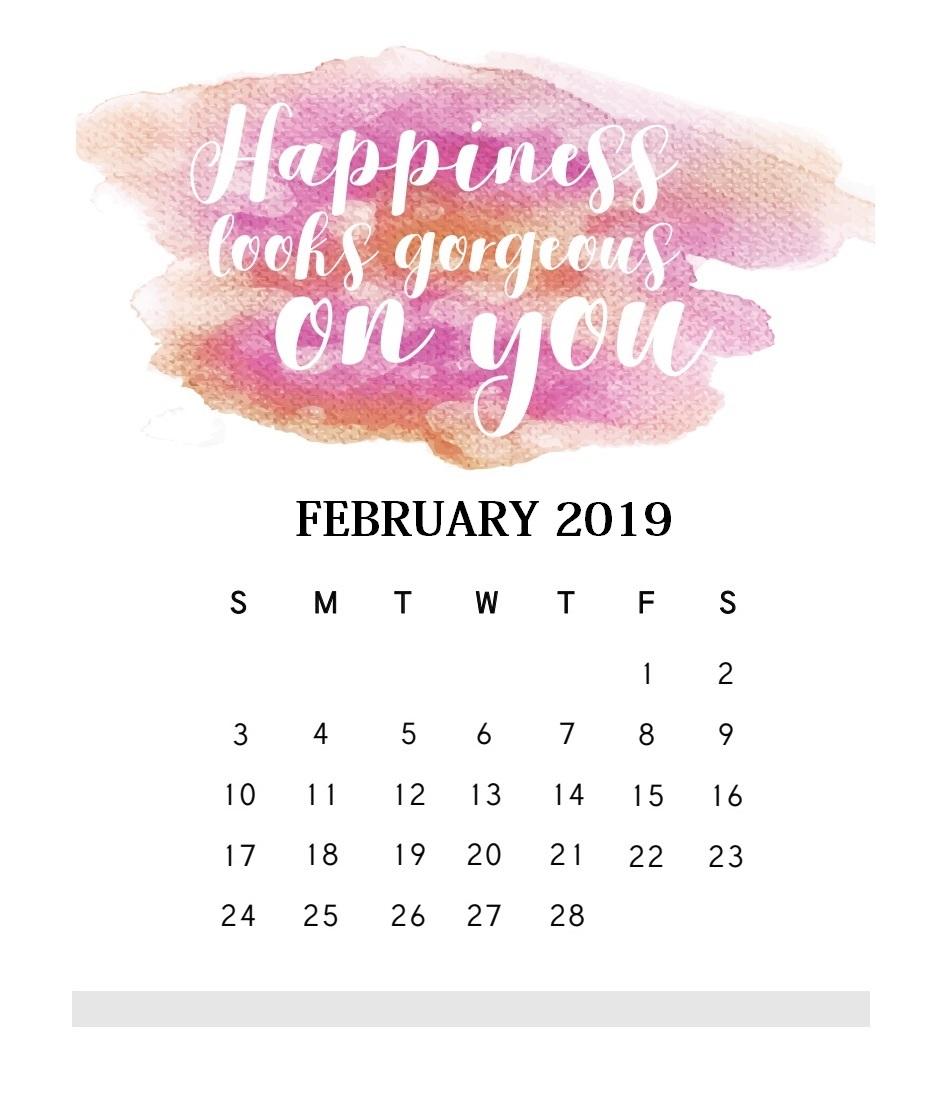 Motivational Quotes February 2019 Calendar