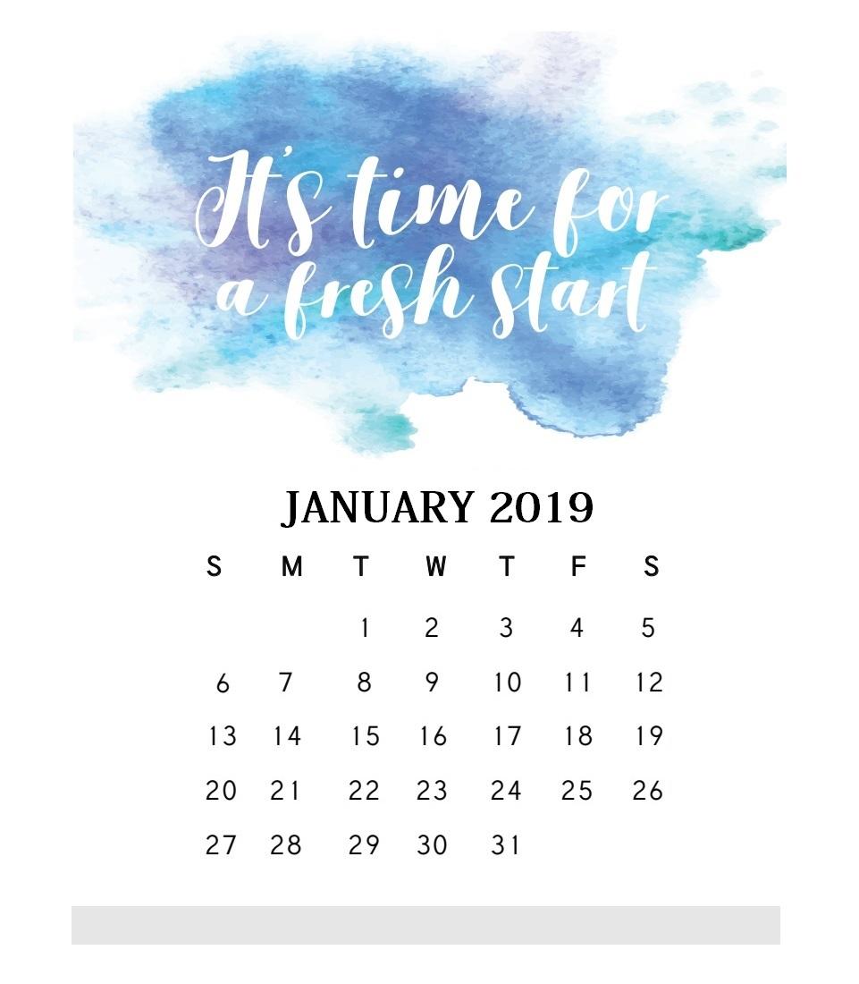 Motivational Quotes January 2019 Calendar