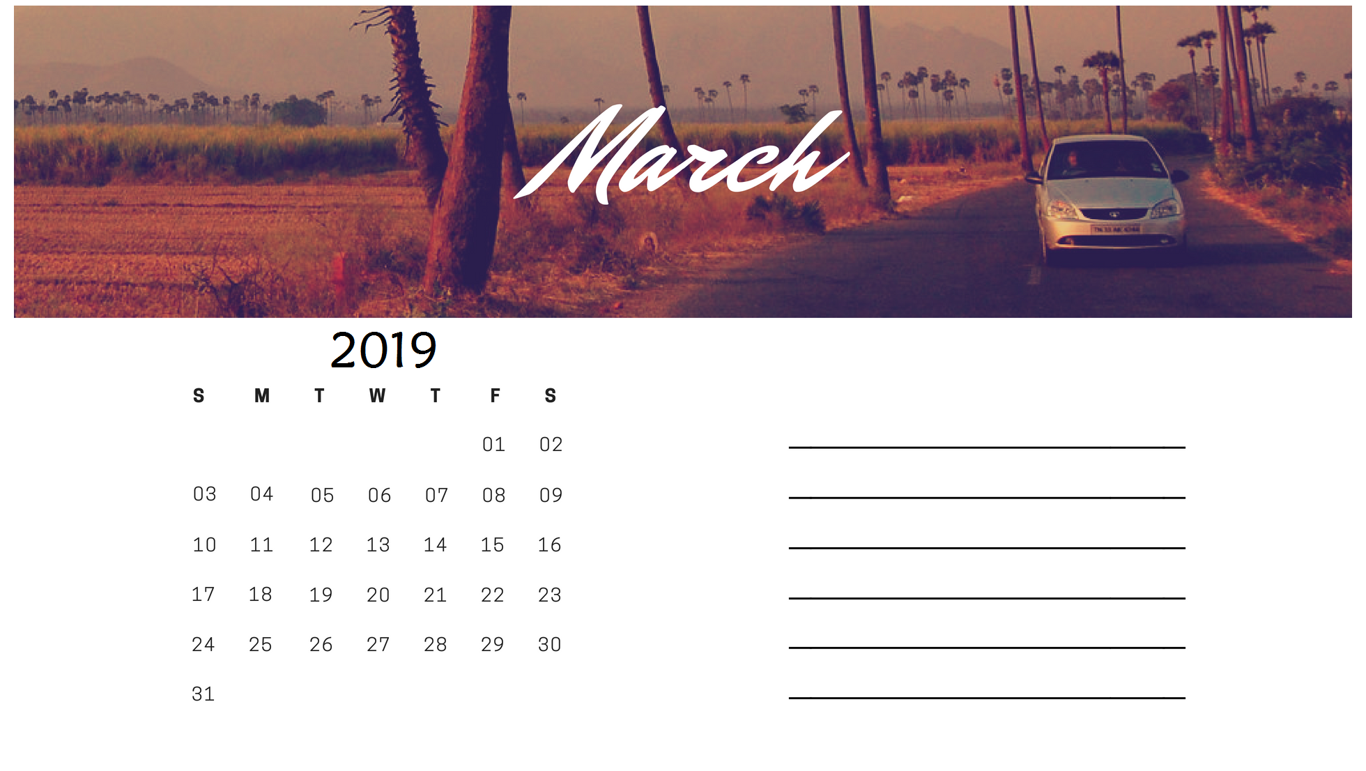New March 2019 Calendar Design