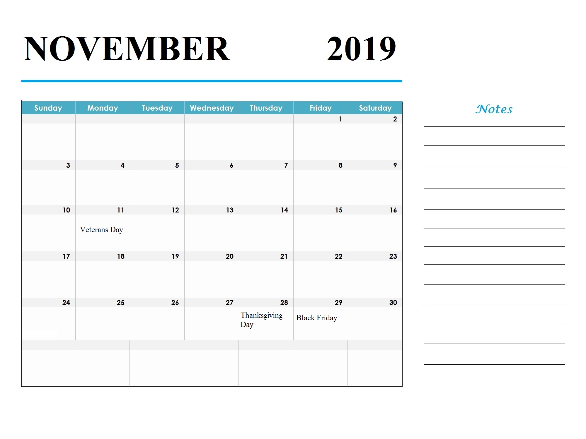 November 2019 Holidays Calendar Template
