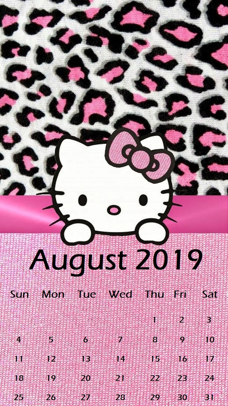 Oink Kitty August 2019 iPhone Calendar