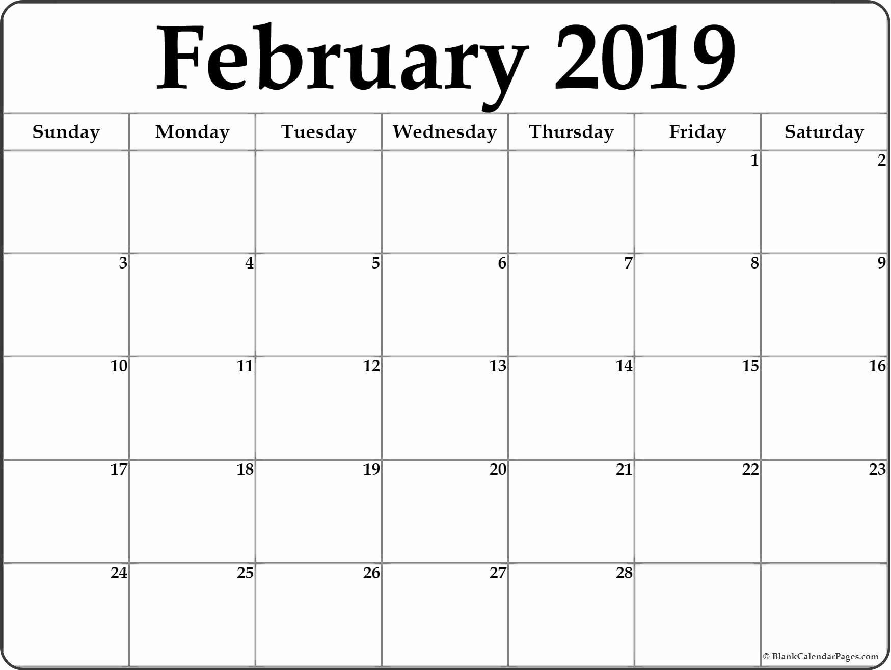 Online February 2019 Calendar PDF