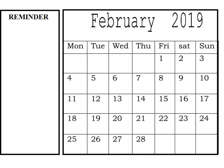 PDF Calendar February 2019