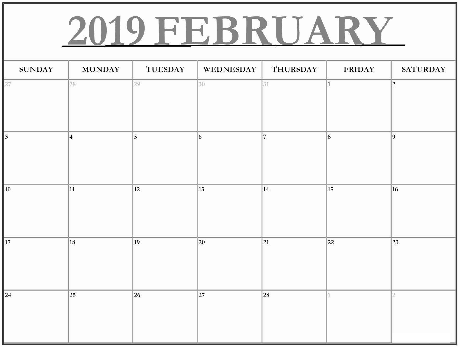 PDF Calendar For February 2019
