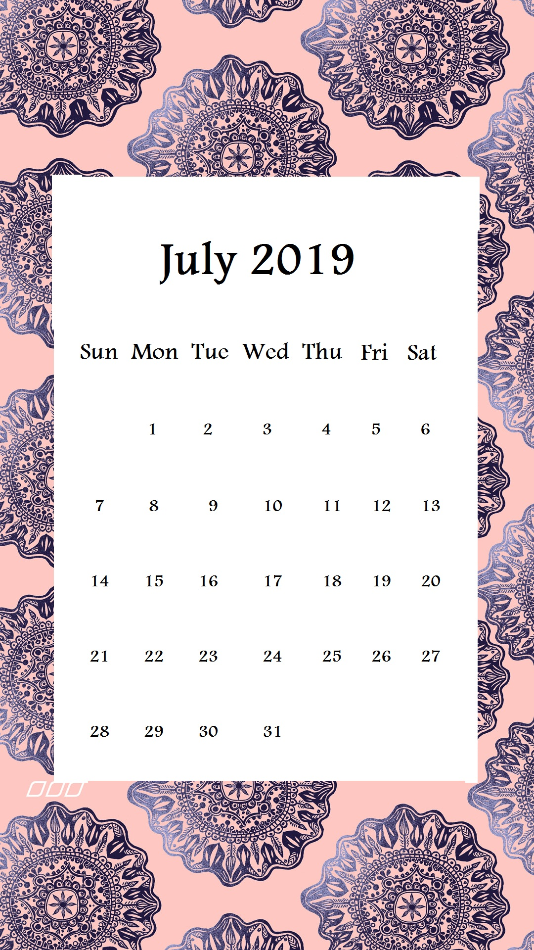 Pattern Design July 2019 iPhone Wallpaper