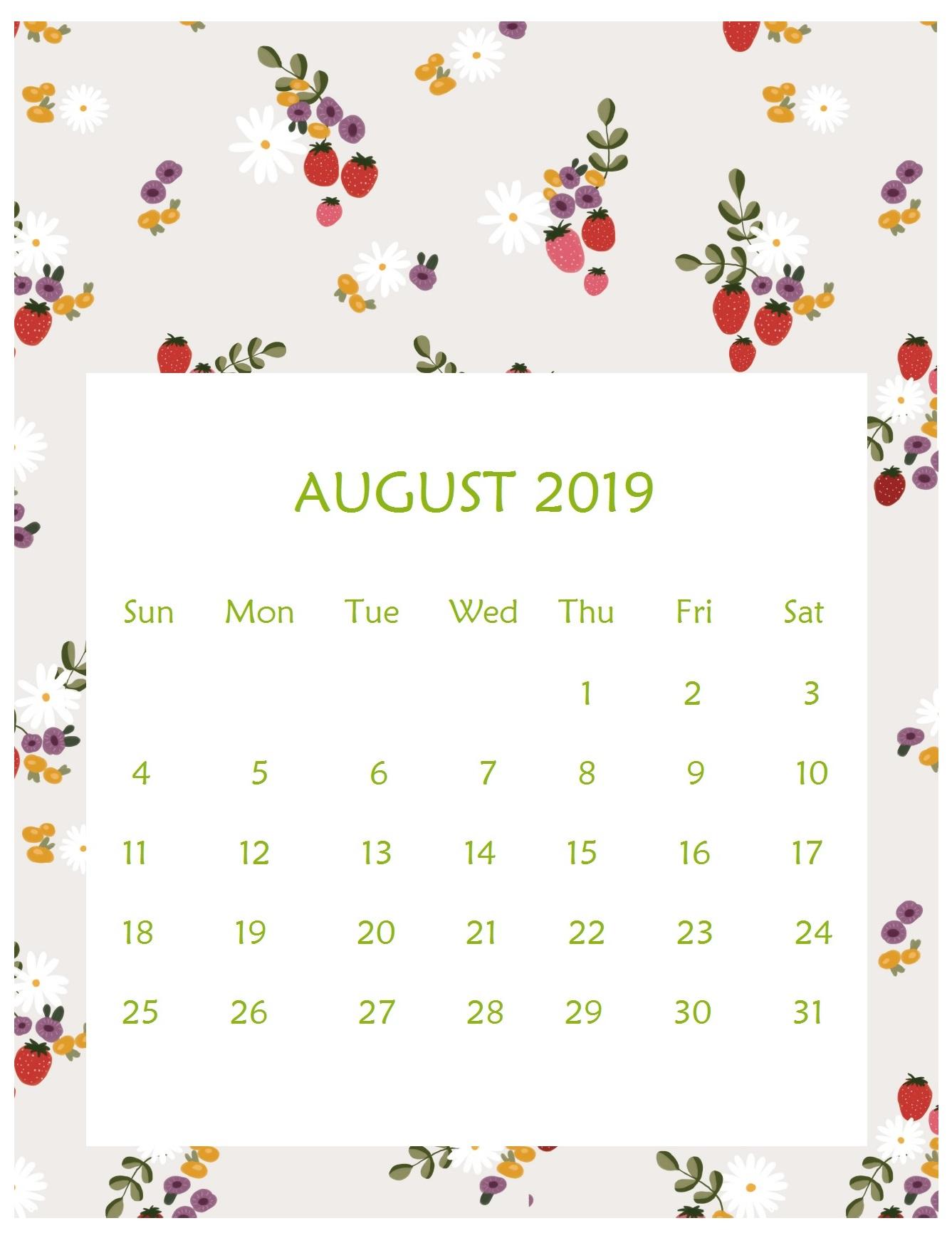 Print Beautiful August 2019 Calendar Template
