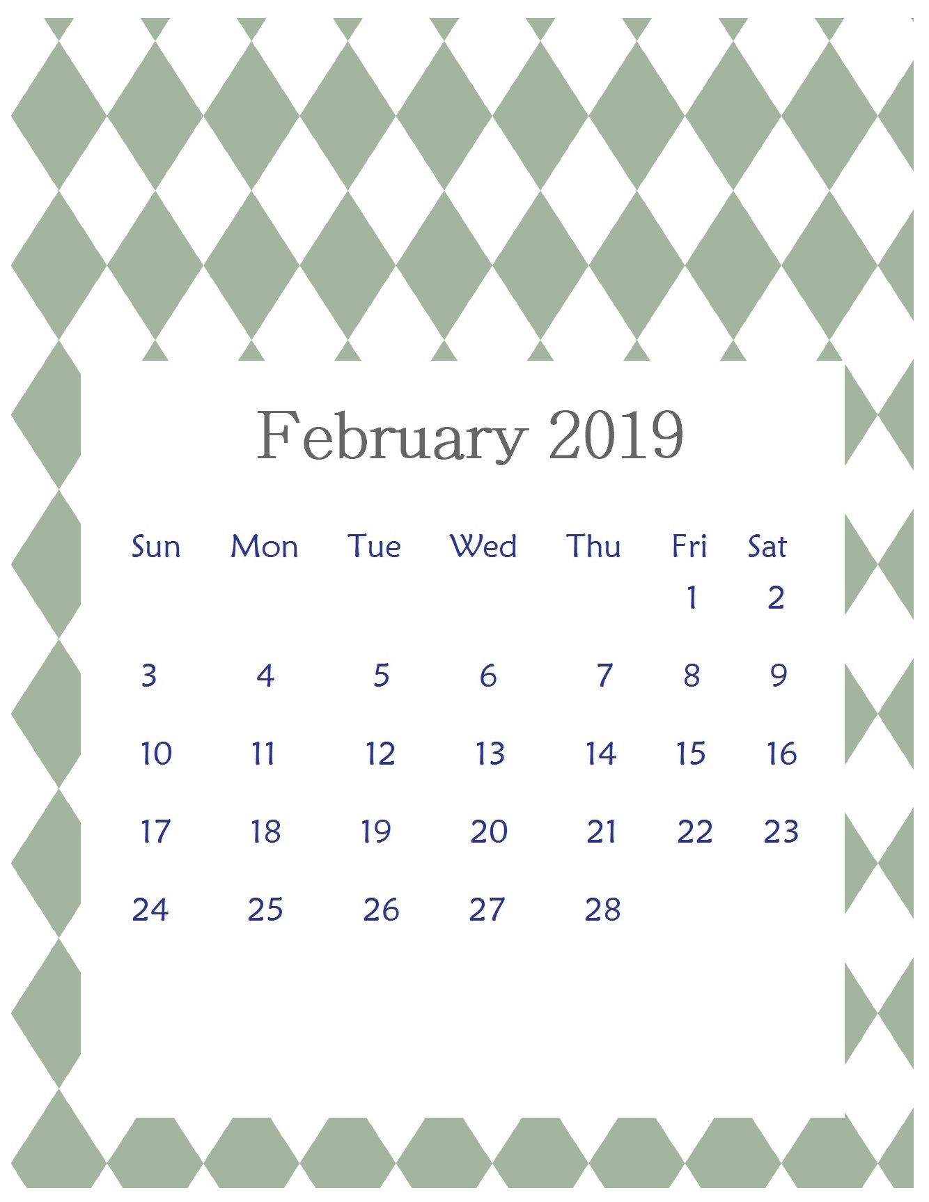 Print Beautiful February 2019 Calendar Template