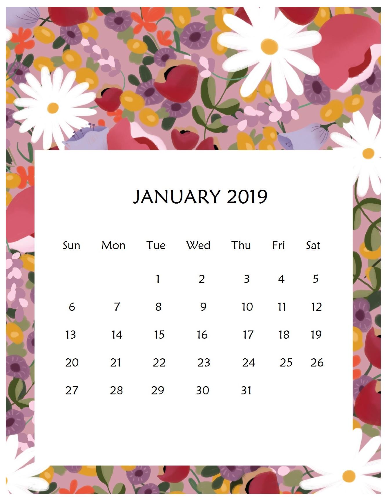 Print Beautiful January 2019 Calendar Template