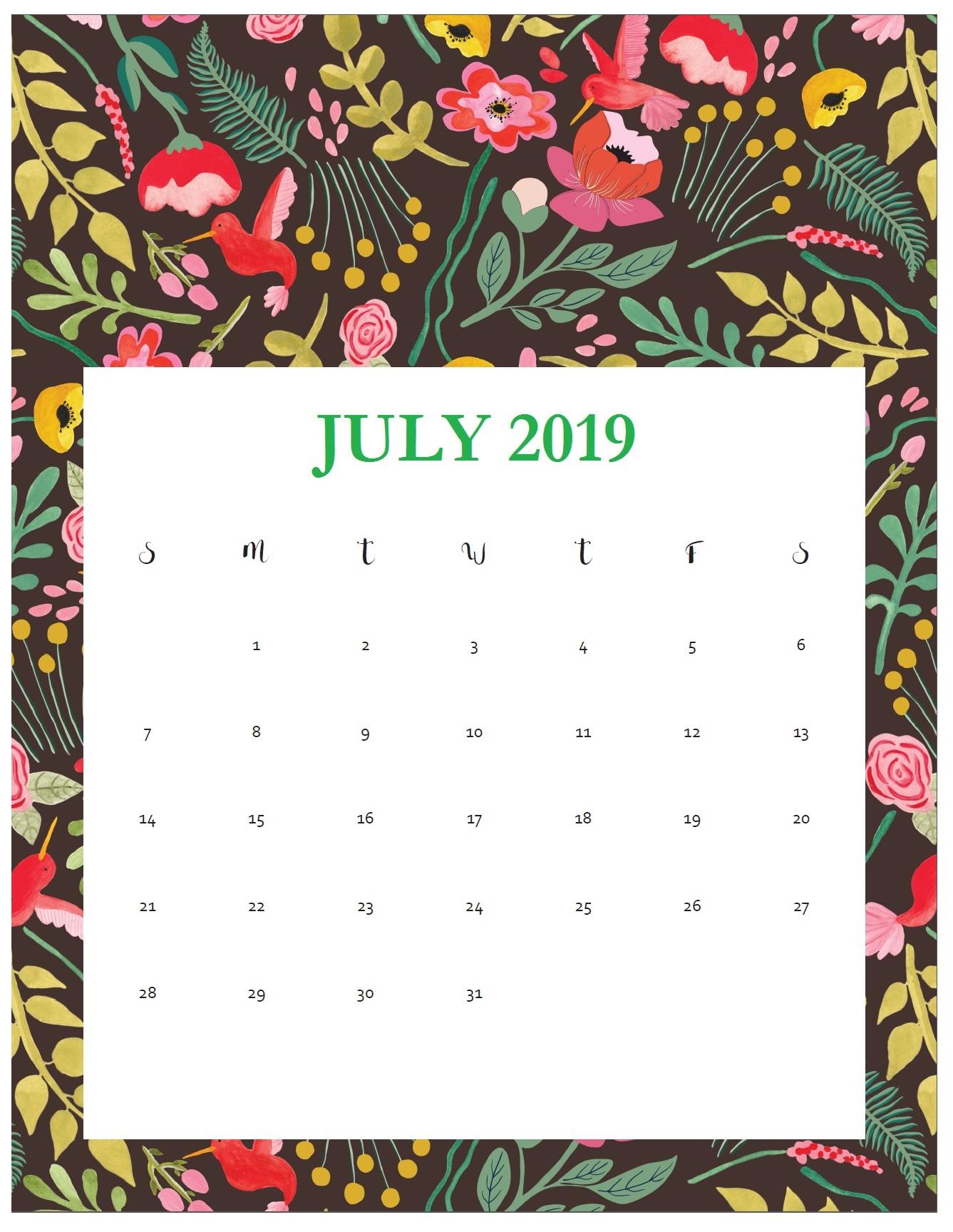 Print Beautiful July 2019 Calendar Template