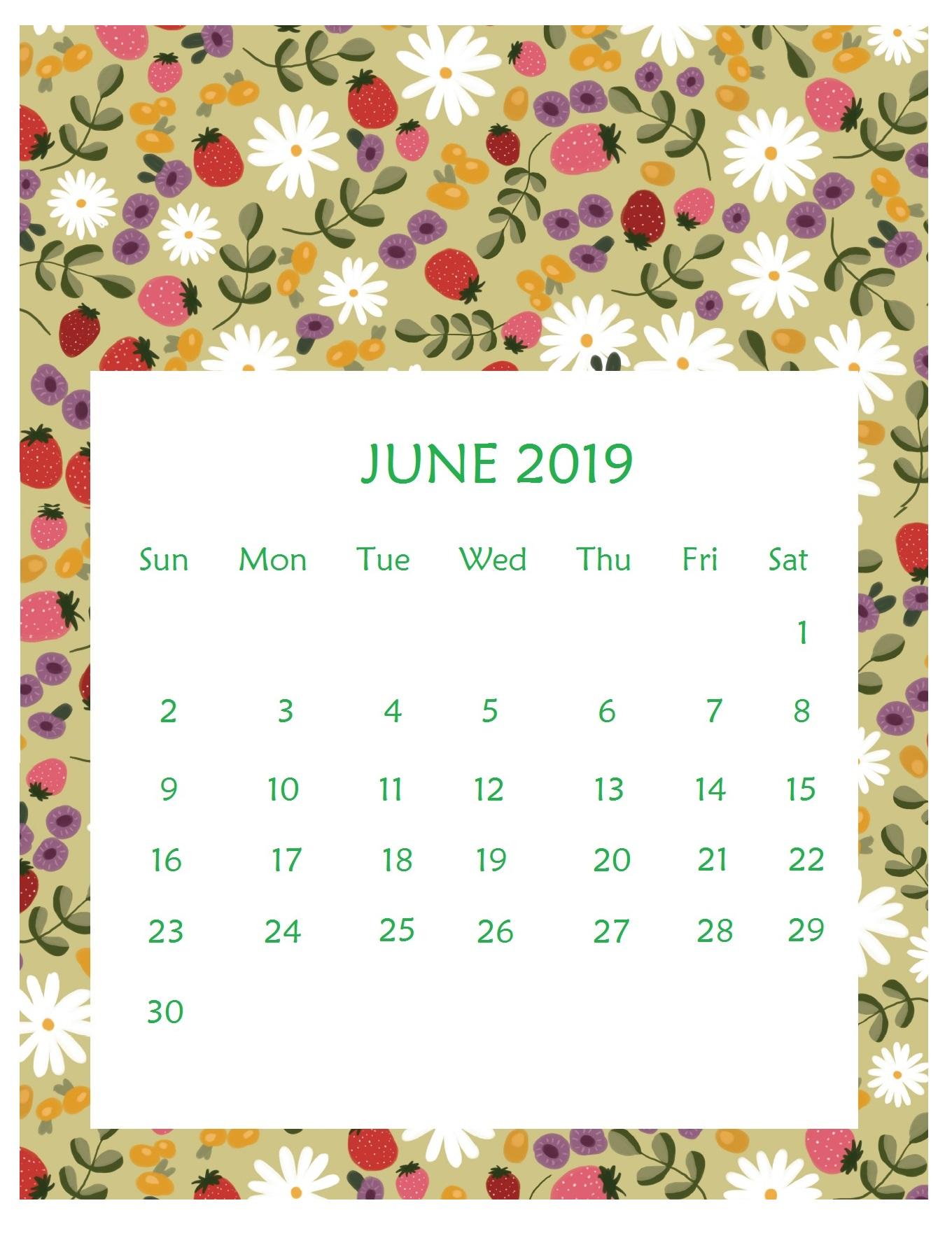 Print Beautiful June 2019 Calendar Template