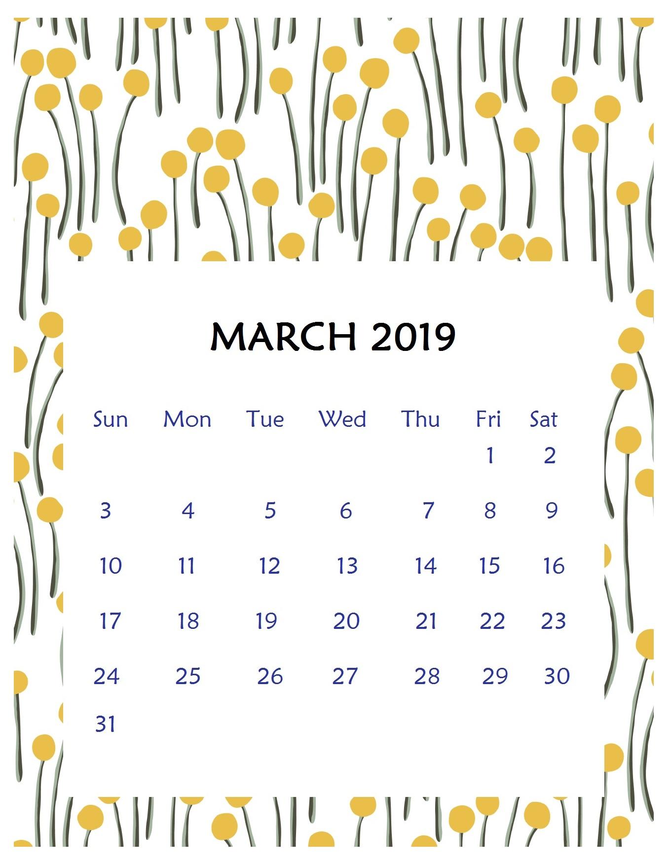 Print Beautiful March 2019 Calendar Template