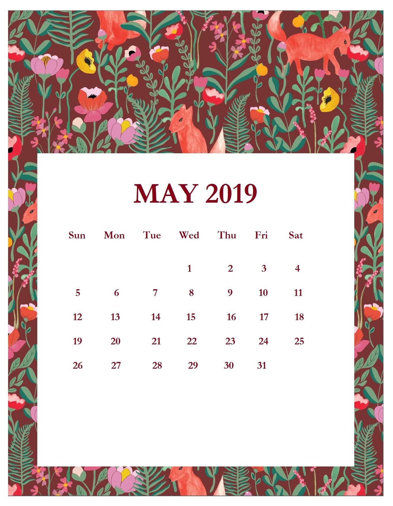 Print Beautiful May 2019 Calendar Template