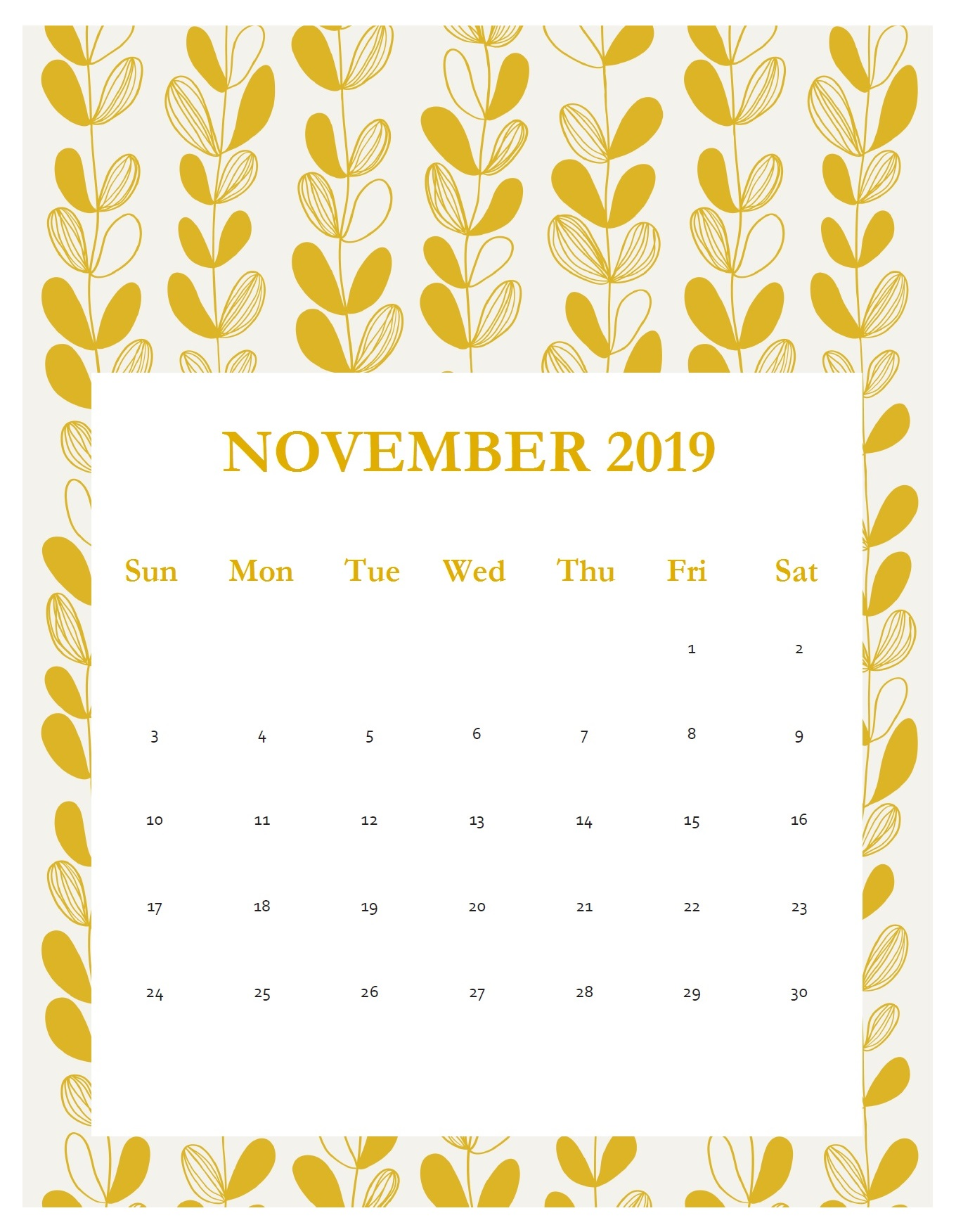 Print Beautiful November 2019 Calendar Template