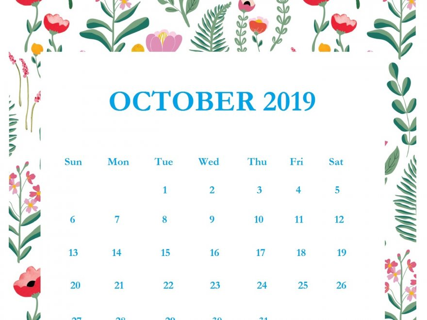 Print Beautiful October 2019 Calendar Template