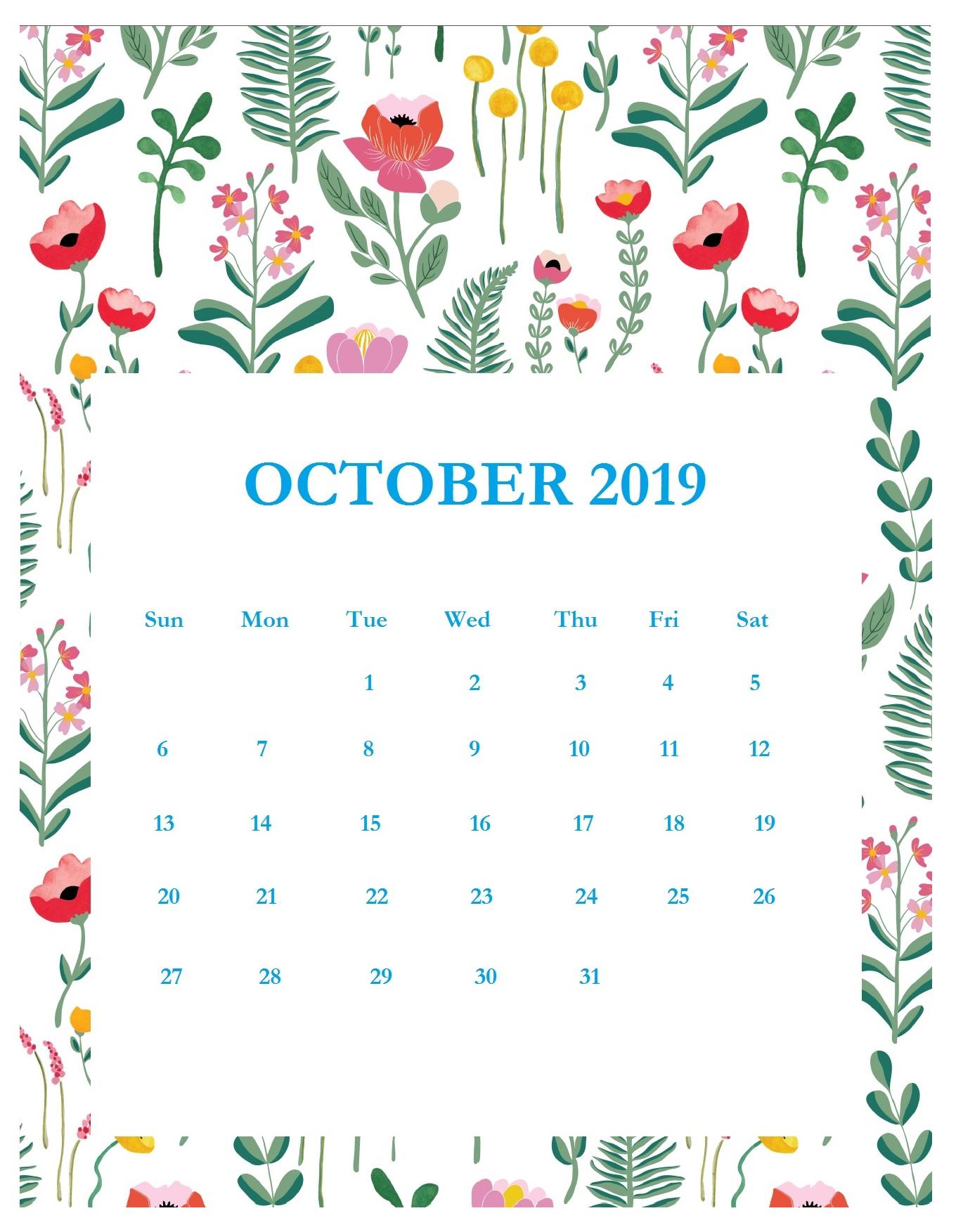Print Beautiful October 2019 Calendar Template