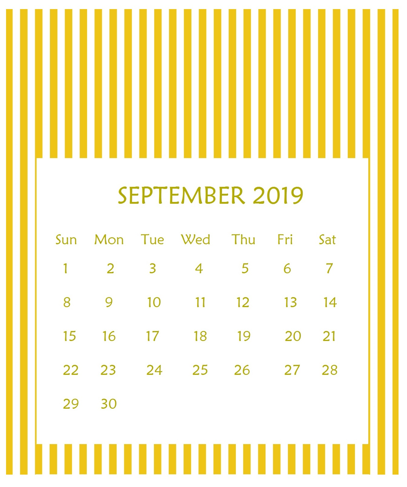 Print Beautiful September 2019 Calendar Template