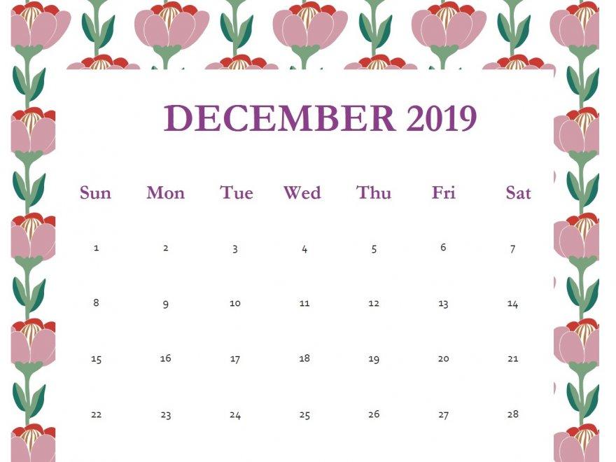 Print December 2019 Calendar Template