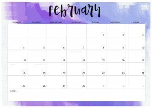 Print February 2019 Desk Calendar