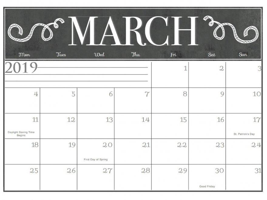 Print March 2019 Desk Calendar