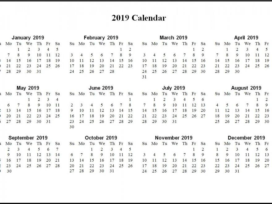 Printable 2019 Word Calendar