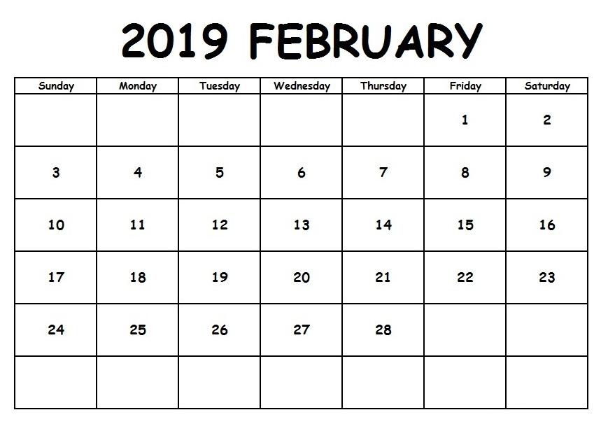 February 2019 Calendar Desktop Wallpaper