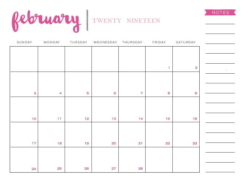 Printable Desk Calendar February 2019