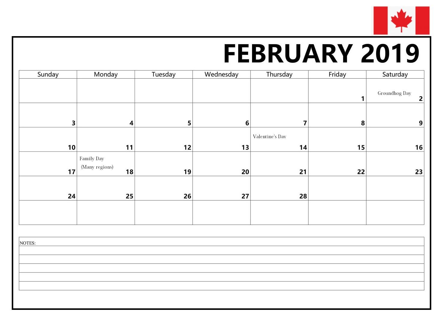 Printable February 2019 Canada Calendar