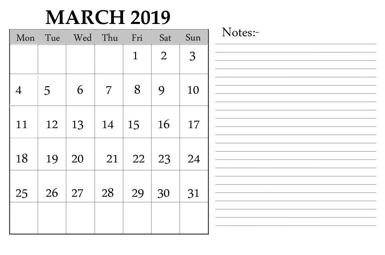 Printable March 2019 Calendar Editable