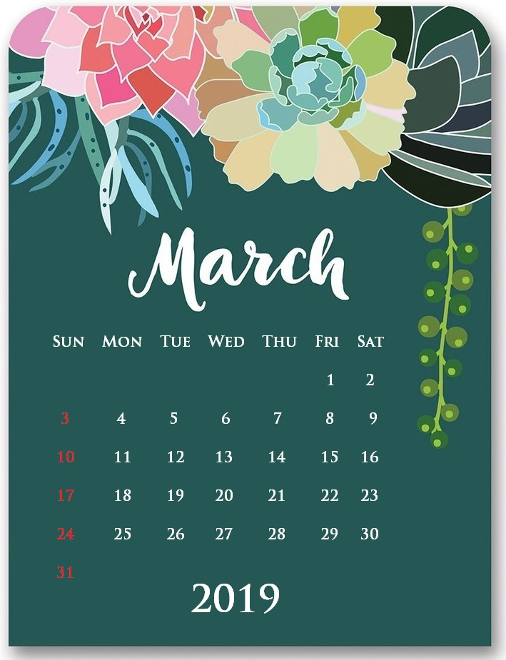 Printable March 2019 Floral Desk Calendar