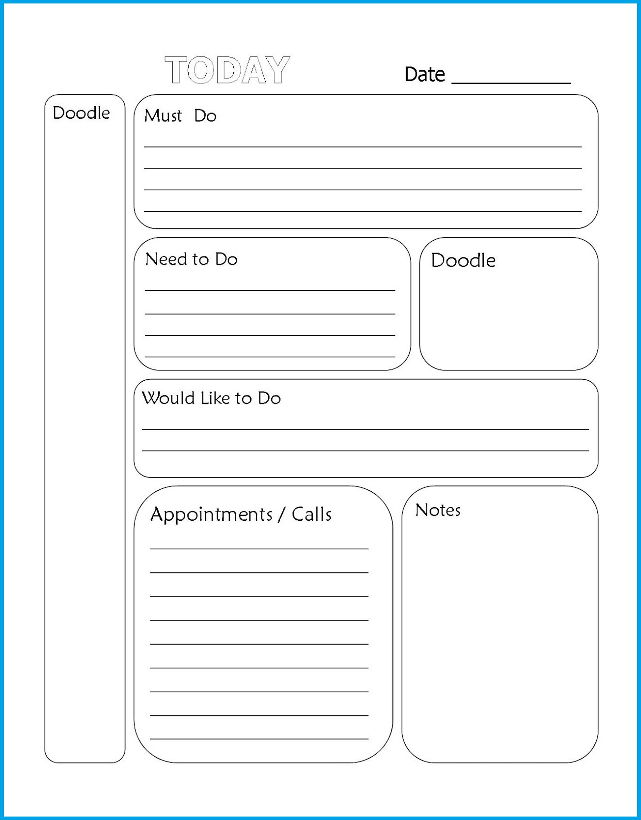 Printable Tasks List Template