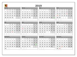 Scolaire Calendrier 2019