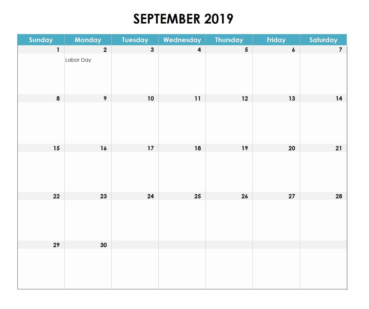 September 2019 Excel Calendar