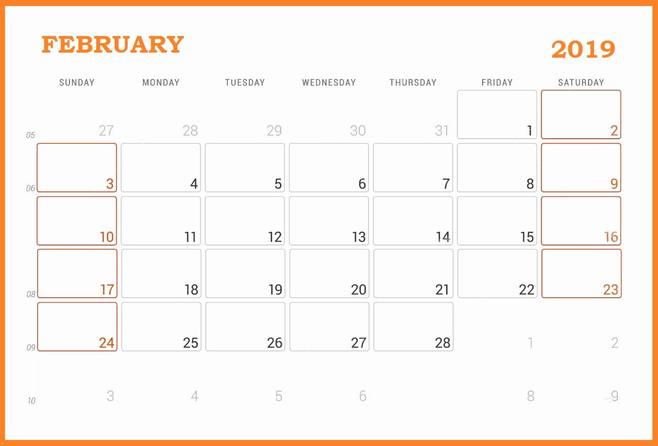Wall Calendar Of February 2019