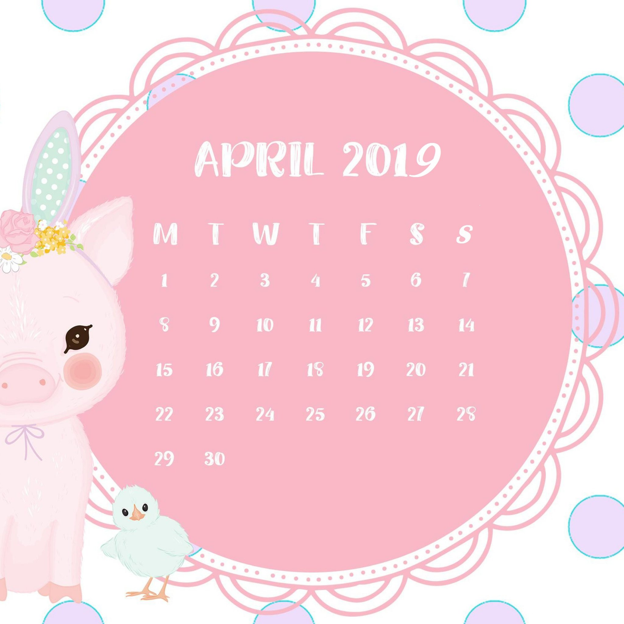 cute pink april 2019 iPhone Wallpaper calendar