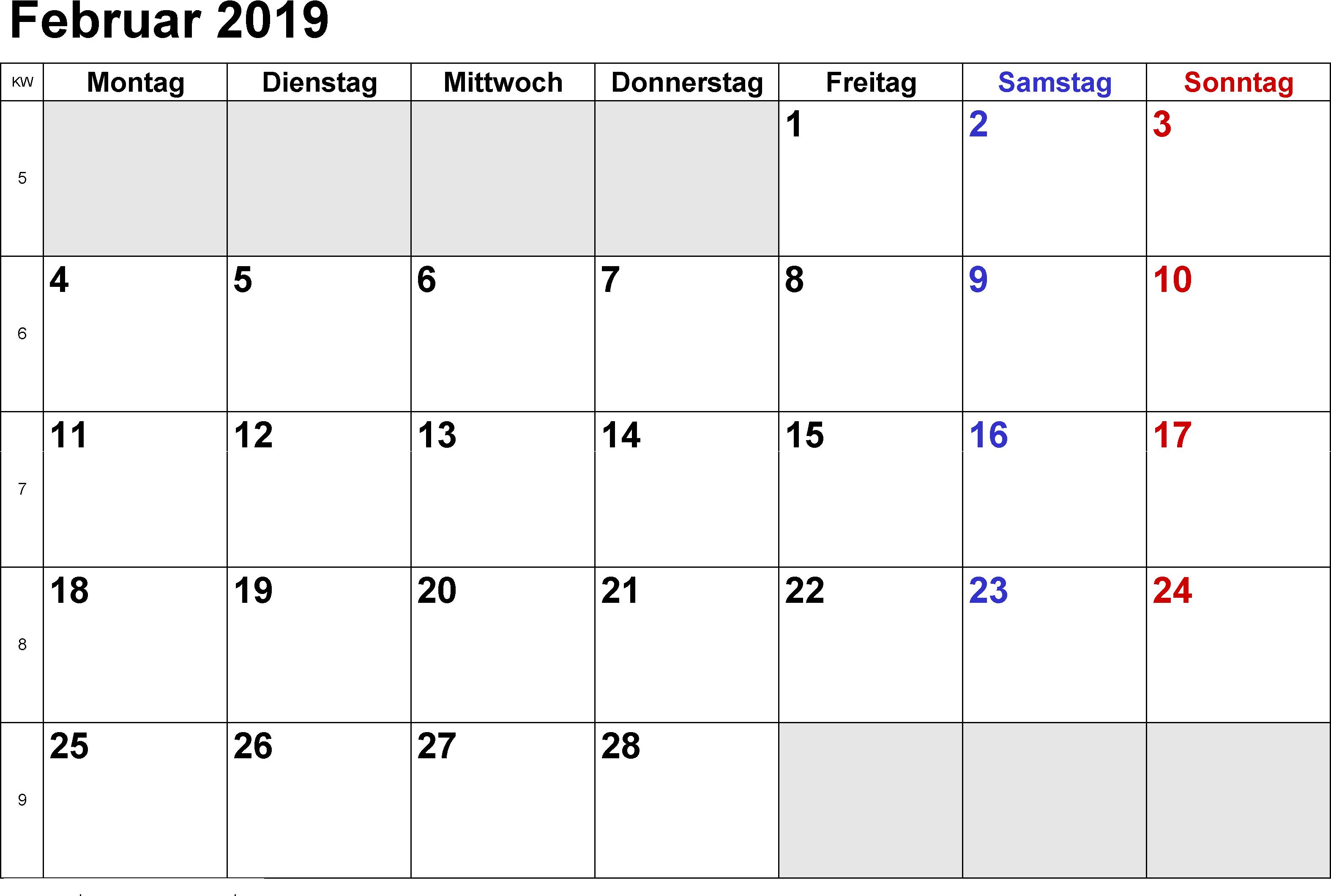 kostenlos Kalender Februar 2019
