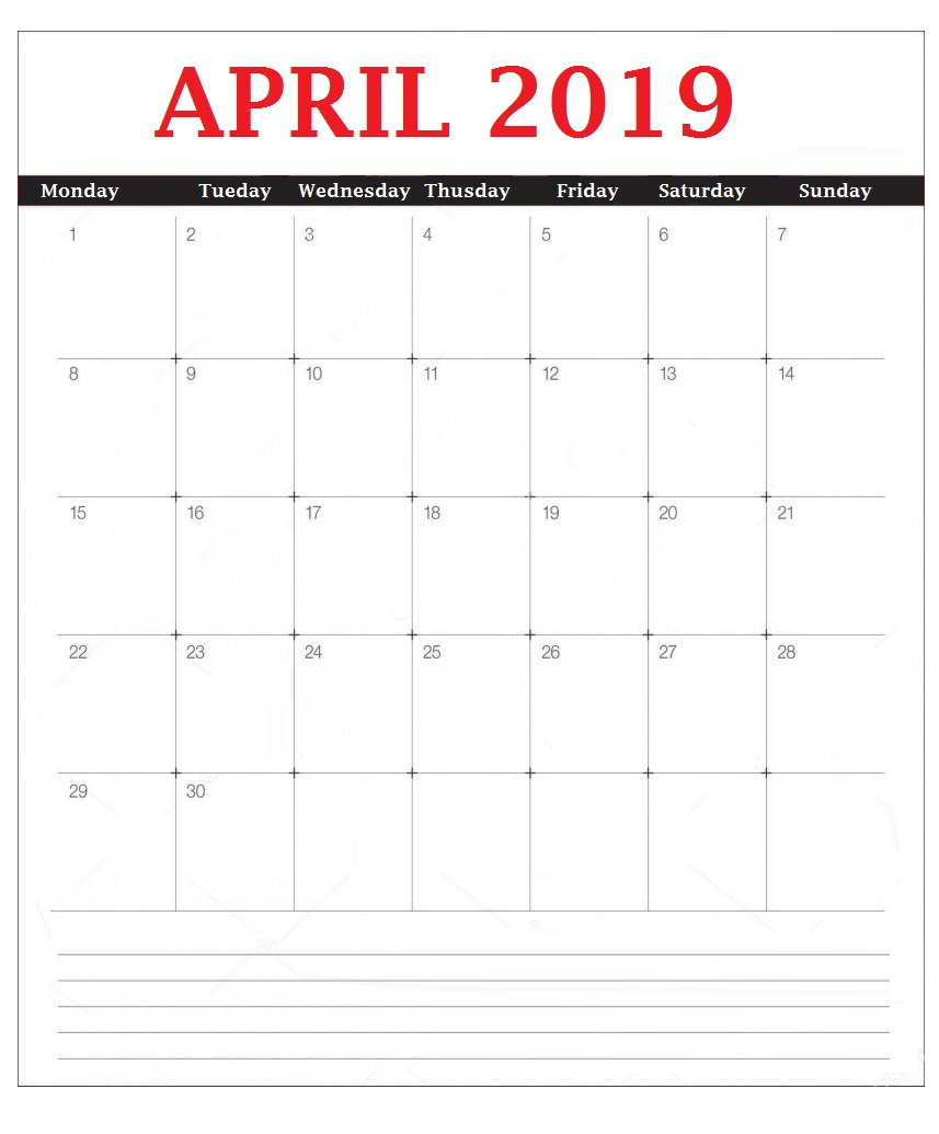 2019 April Desk Calendar Template