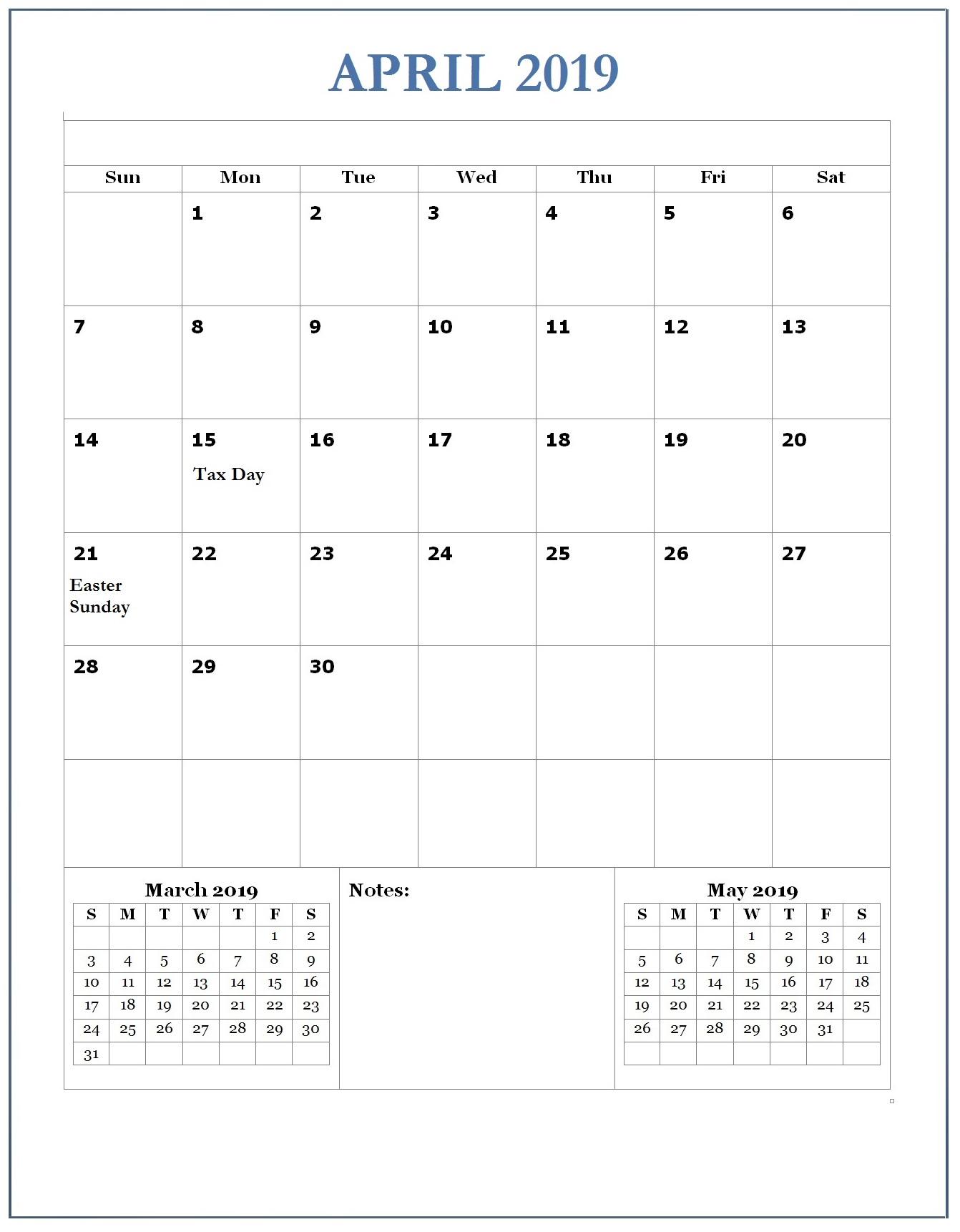 2019 April Office Wall Calendar