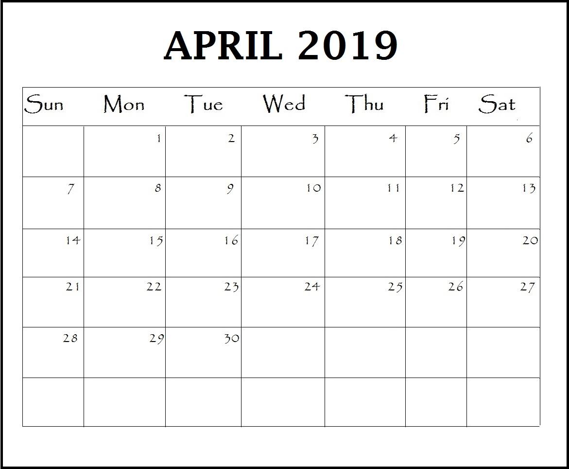 April 2019 Blank Calendar
