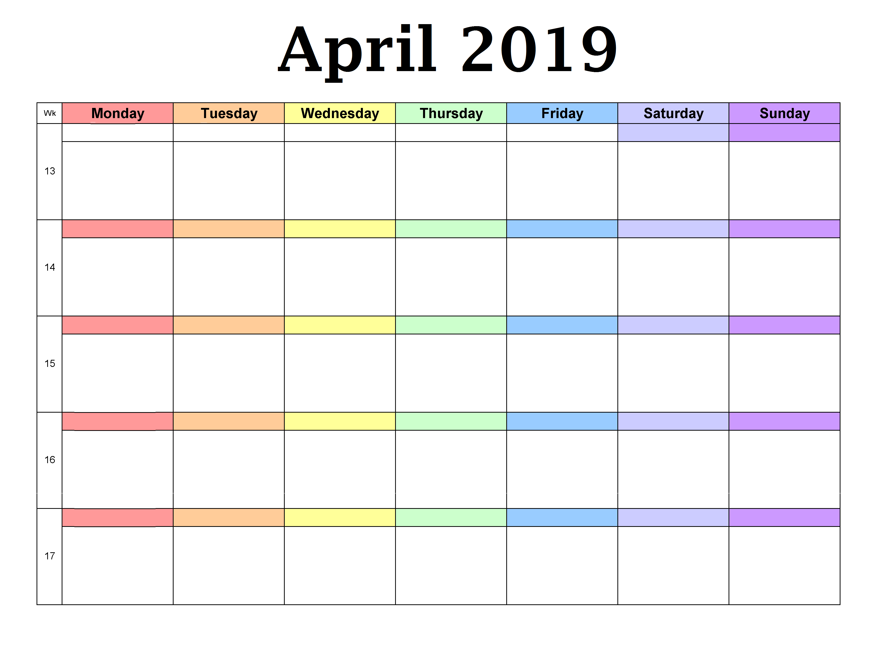 April 2019 Blank Planner