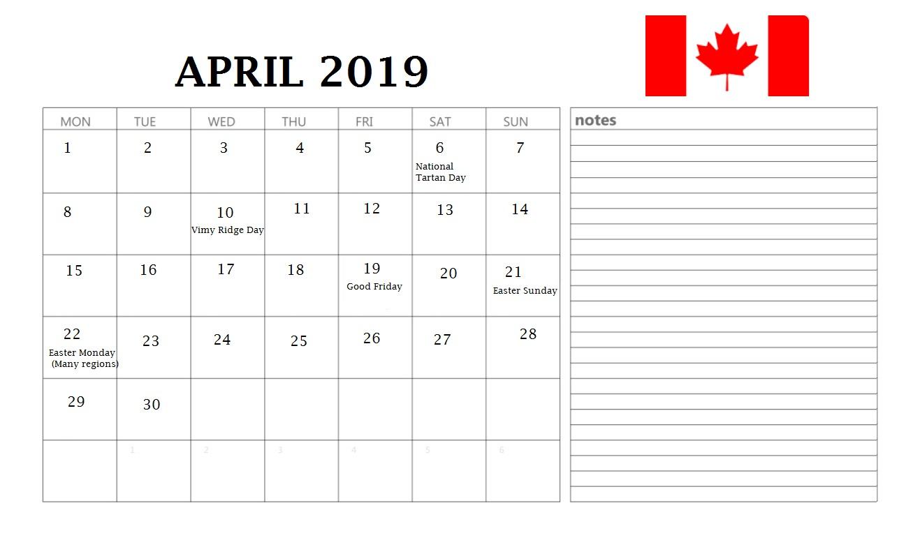 April 2019 Calendar Canada Holidays