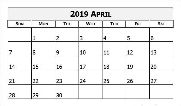 April 2019 Calendar Editable