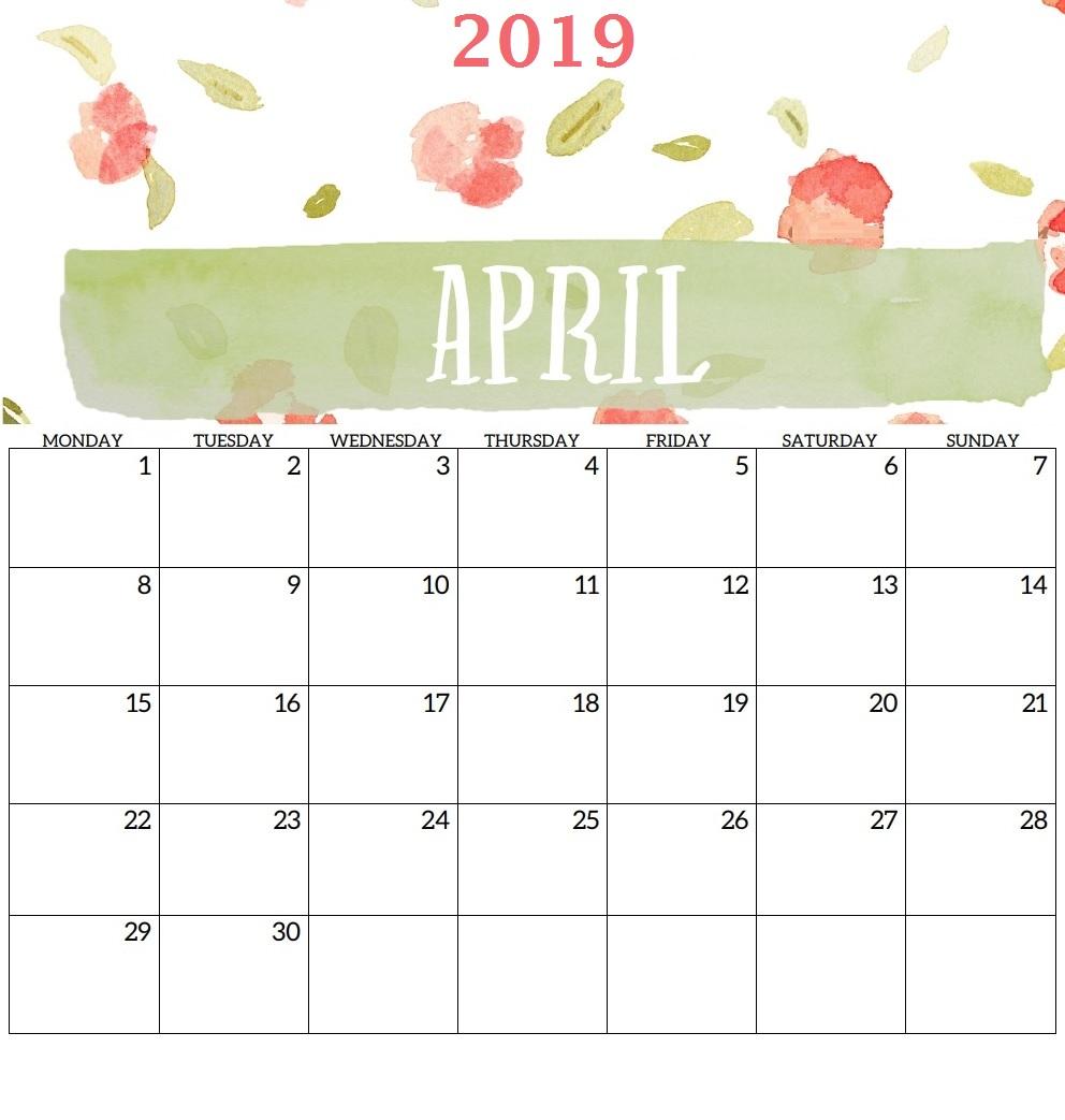 April 2019 Calendar For Desk