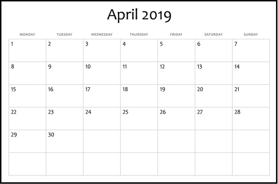 April 2019 Calendar Printable Free